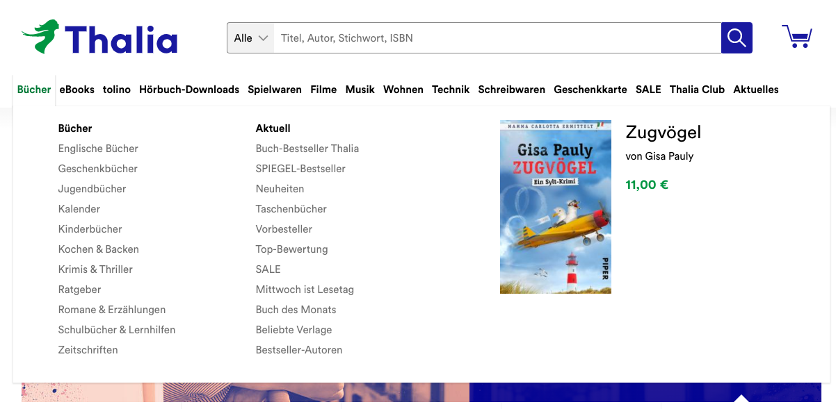 Bücherkategorien auf Thalia.de